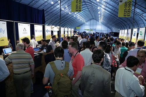 One of the packed exhibit halls at the 2015 Collision conference
