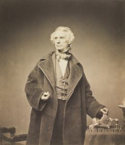 Samuel Morse with his recorder, photograph taken by Mathew Brady in 1857 cc wikicommons