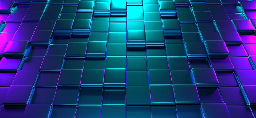 header image: tiles of various heights in blue, green, and purple iridescent gradient